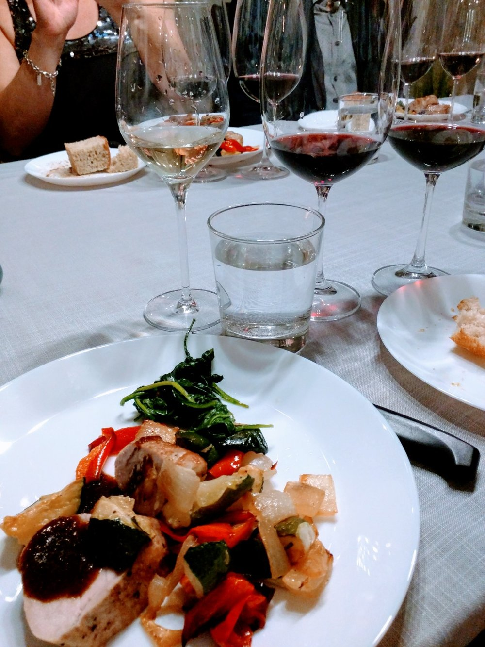 Pork tenderloin, ginger-garlic sauce, roasted vegetables