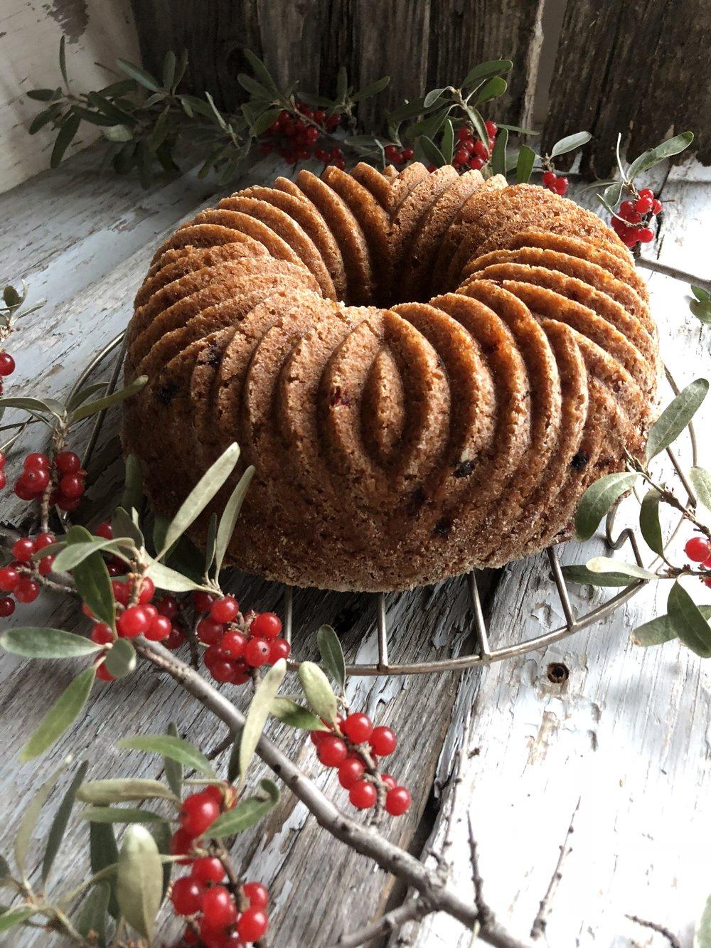 gluten free bundt cake with pumpkin and buffalo berries