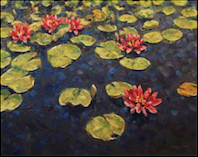 """Water Lilies"" oil on canvas, 24x30 inches, $1800"