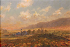 """Brush Valley Looking East, Misty Morning""  oil on canvas, 24x36 inches, $2000"