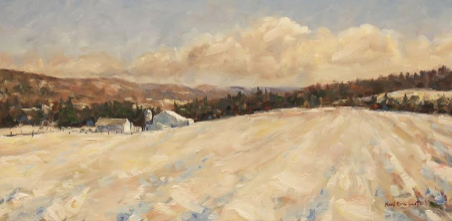 """Penns Cave Farm, Winter""  oil on canvas, 18x36 inches, $1800"