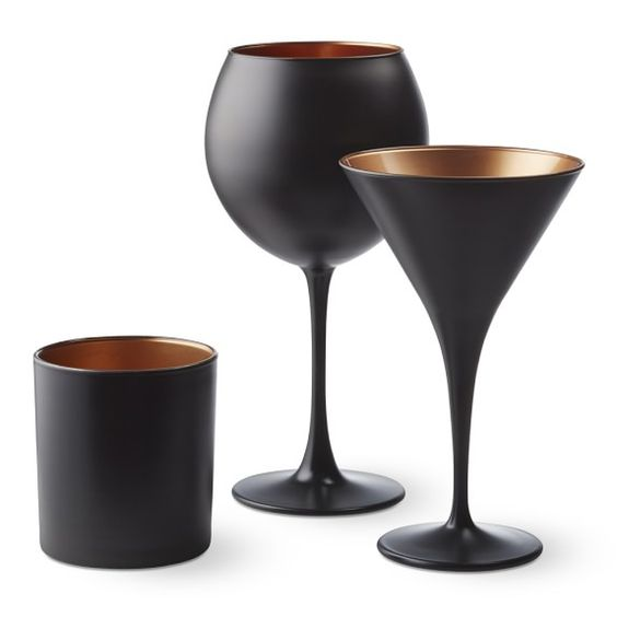 Black and Copper Glassware