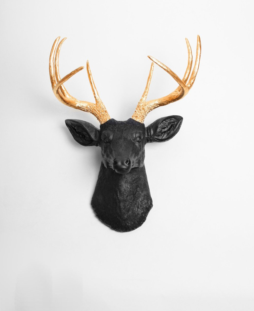 Black Faux Deer Head