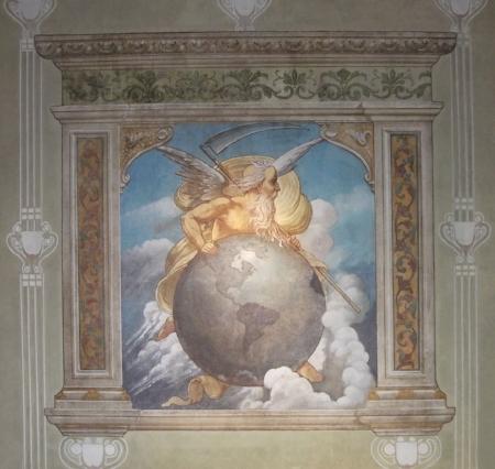 Painel de F. Sehlatter, 1908, representa o deus Cronos