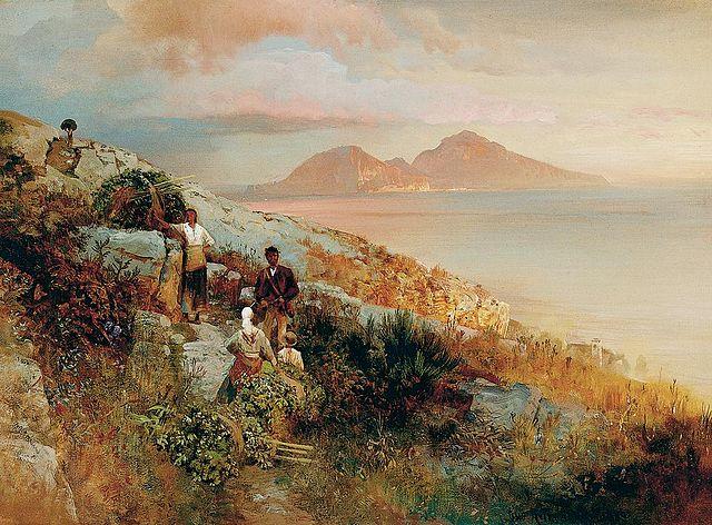 View of Capri, by landscape artist Oswald Achenbach who had Jupiter square Neptune