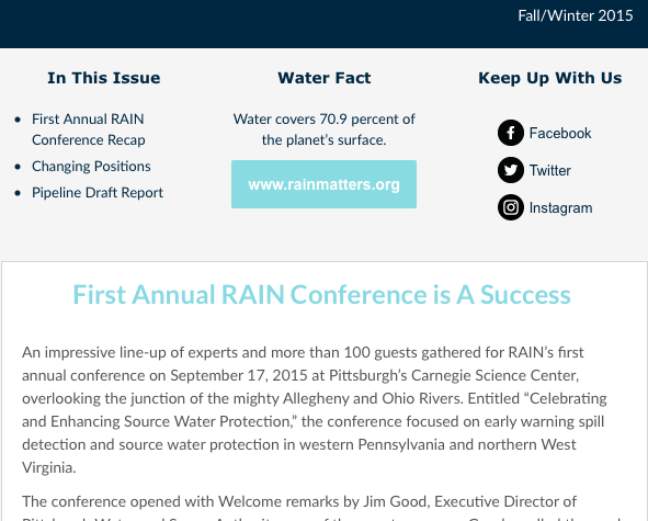 RAIN Newsletter Fall/Winter 2015