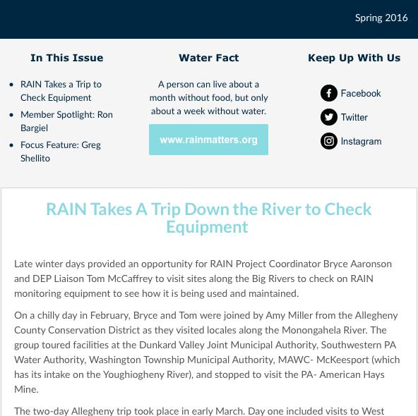RAIN Newsletter Spring 2016