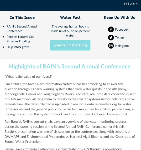 RAIN Newsletter Fall 2016
