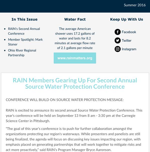 RAIN Newsletter Summer 2016