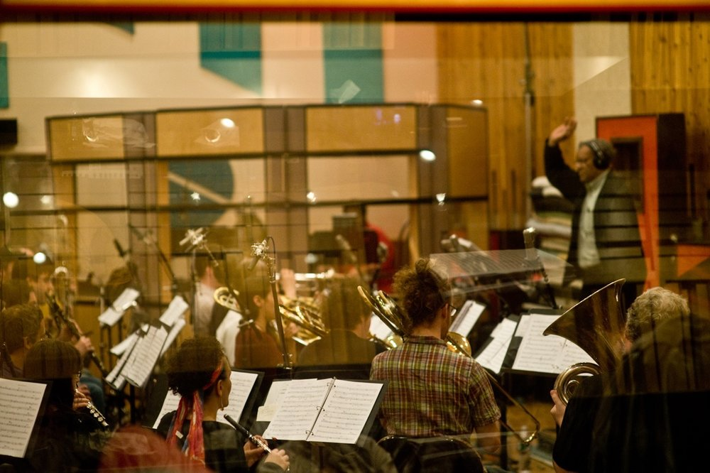 Recording Braxton's opera  Trillium E  in March 2010, photo by Michael Weintrob.