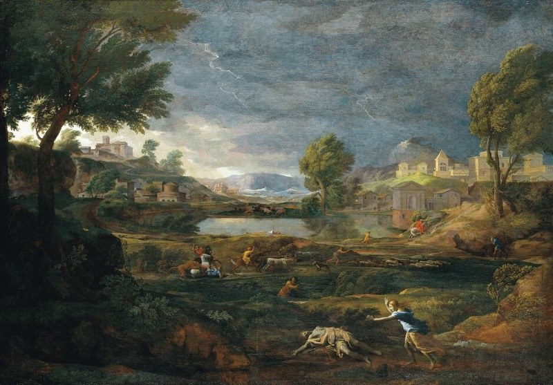 Poussin threads stories                        thru stone,  paint and  Air,    and  rain drops on soft skin   ;a tapestry of balance.   Nicolas Poussin  Stormy Landscape with Pyramus and Thisbe, 1651 Städel Museum