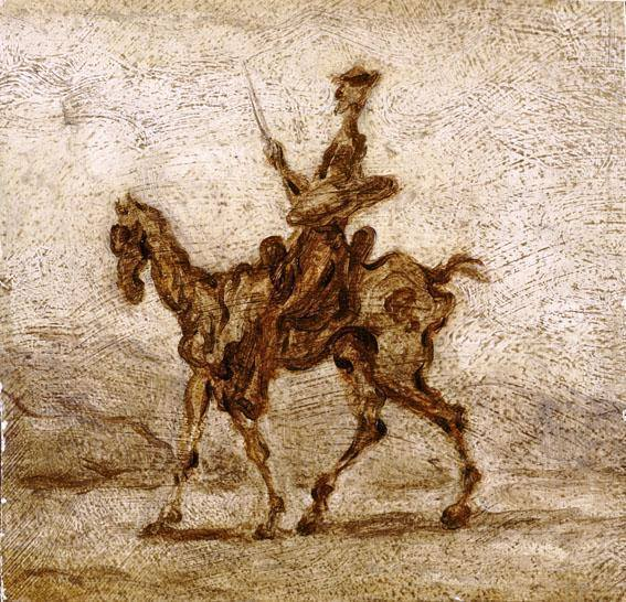 Rhythm that   Vibrates between things  -until they merge.    Like they do on a moving train.   Honore Daumier  Don Quixote on Horseback, 1855-60 Museum of Fine Arts of Dijon