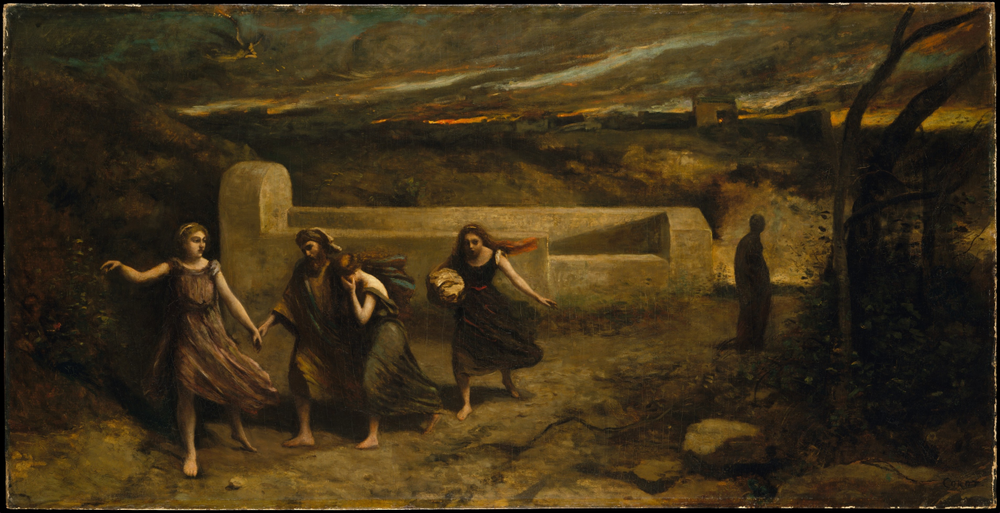 a minor God  Just out of sight  his creations play with  parallel Grace and handless space,  He watches the unfolding  with quite thoughts  Kept close.   Camille Corot  The Burning of Sodom, 1843 and 1857 Metropolitan Museum of Art