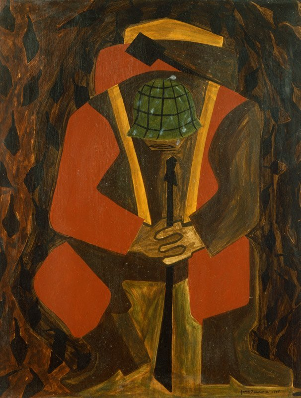 Thru eyes half closed with the weight of what they've seen. Lawrence tells stories unheard in the museum milieu. His vision is as stoic as the scenes he paints.     Jacob Lawrence   War Series: Victory, 1947 Egg Tempera on Board, 20 × 16 in Whitney Museum