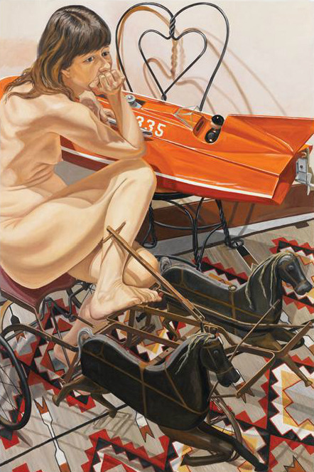 The awkwardness of bodies and Boney shapes  Spread out on a flattened canvas. Things are more abstract than things should be-It's an honest mistake,  That You might make   Philip Pearlstein  Model With Speedboat and Kiddie Car Harness Racer, 2010 Oil on Canvas, 72 x 48 in Betty Cuningham Gallery