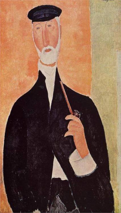 Elegance  as real as   A sailors pipe  and shoulders of moments   poured from life.   Amedeo Modigliani  Man with a Pipe (The Notary of Nice), 1918 Private Collection