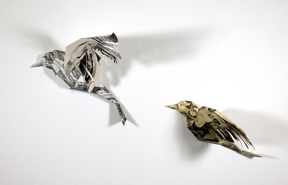 Flight 4  (left) and  Flight 6  (right)  2018  Lithograph Printed Paper Sculpture