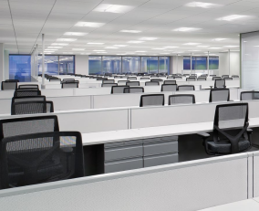 The open office occupancy sensor requirement is one of the most significant impacts on the design and cost of lighting control systems under the new code. (Photo by Philips Lighting).