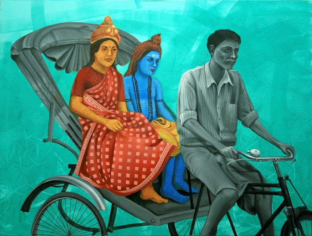Having God on my Rickshaw - Amarendra Maharana - 36x48inch - Acrylic on Canvas
