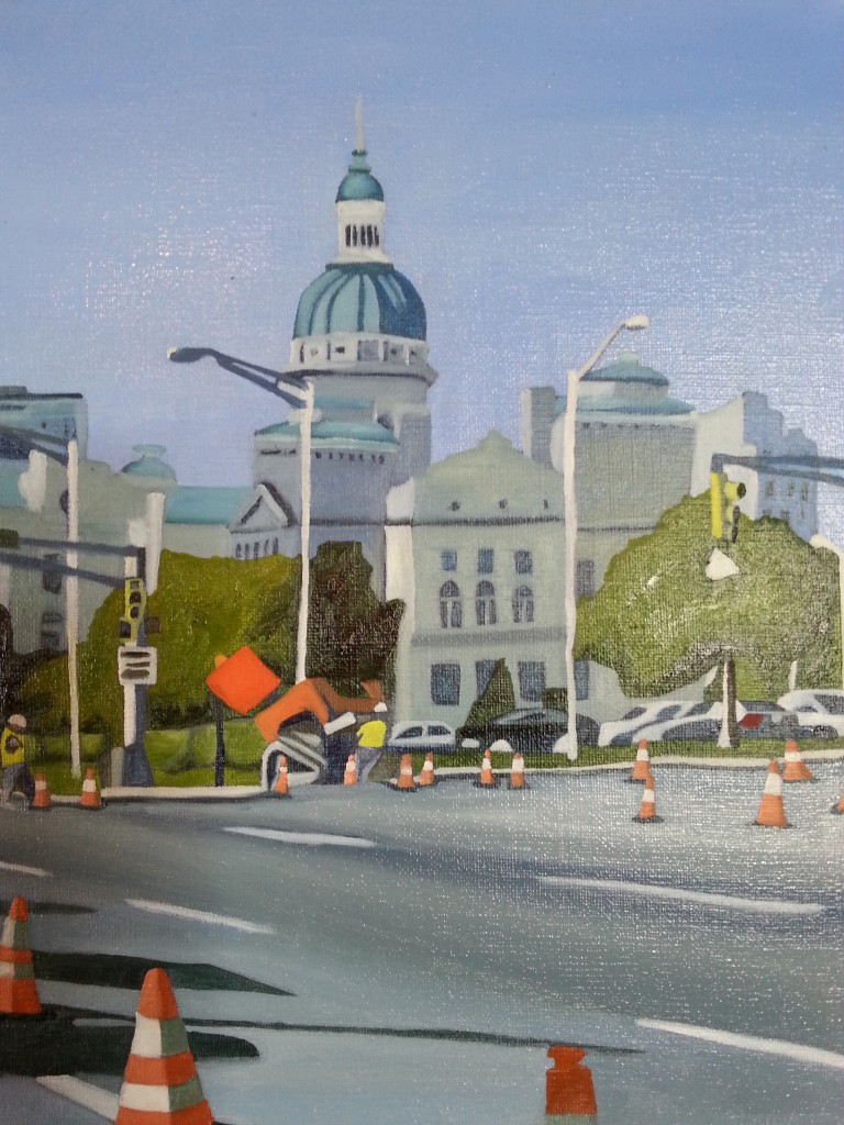 17th and New Jersey, Facing west 8 by 10, Oil on Linen