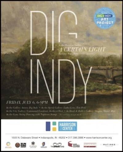 "In partnership with  Citizens Energy Group   the Harrison Center presents DigIndy, a First Friday artist reception to take place on July 6 from 6 to 9pm. The DigIndy Art Project is a public outreach initiative that seeks to raise awareness of the environmental benefits of  DigIndy  and the work that is happening below the city to improve Indianapolis's water quality. As part of the project, the Harrison Center's Gallery Annex will host a group show featuring the work of 42 local artists on round wood panels (""manhole covers""). During the artist reception, a jury selected by the Arts Council of Indianapolis will choose fifteen designs that will be reproduced on actual manhole covers and installed along the Cultural Trail.  In the Harrison Gallery, painter Benny Sanders' solo exhibit, ""A Certain Light"" will include a combination of plein air landscapes and portraits. ""Relatively new to painting and deeply consumed, I have made these paintings in an attempt to understand how light describes a subject. My subjects are chosen by instinctively investigating what I would honestly enjoy painting. The subject is often easily discovered, but the process of painting a clear image of these people and places is deceptive, complex and addictive."" Acclaimed jazz guitarists Chase Blackburn and Charlie Ballantine will play in the gallery from 7-9pm.  In the City Gallery, encaustic artist Kathryn Dart's ""Communal Construct"" is a series of urban land- and skyscapes juxtaposing painterly encaustic strokes with carefully composed wax blocks, evoking feelings of place rather than representation. This work explores both the public and private ways we create our experience of city living in Indianapolis.  Speck Gallery features ""Lathe 
