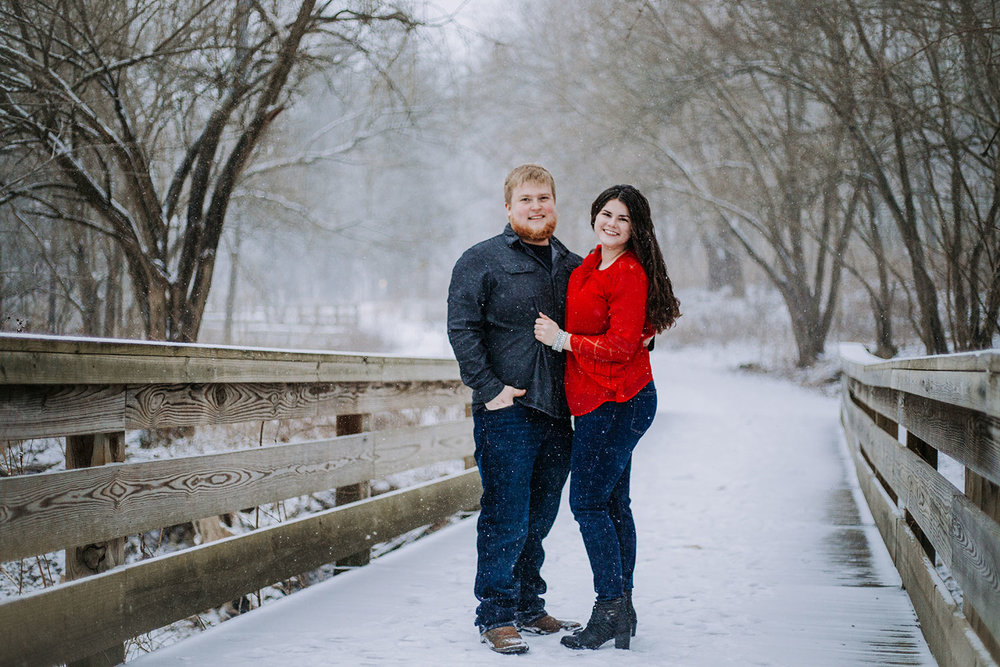 Shutter Up Studios | Engagement photographer in West Lafayette Indiana | Snowy winter couples photo session at Happy Hollow Park