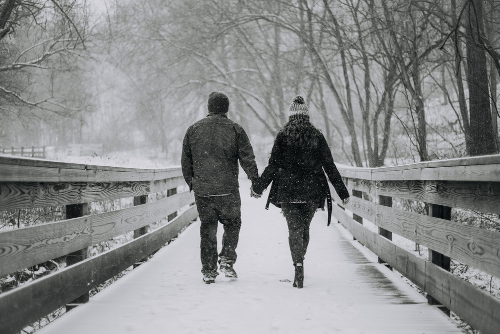 Shutter Up Studios | Engagement photographer in West Lafayette Indiana | Snowy winter couples black and white photo session at Happy Hollow Park
