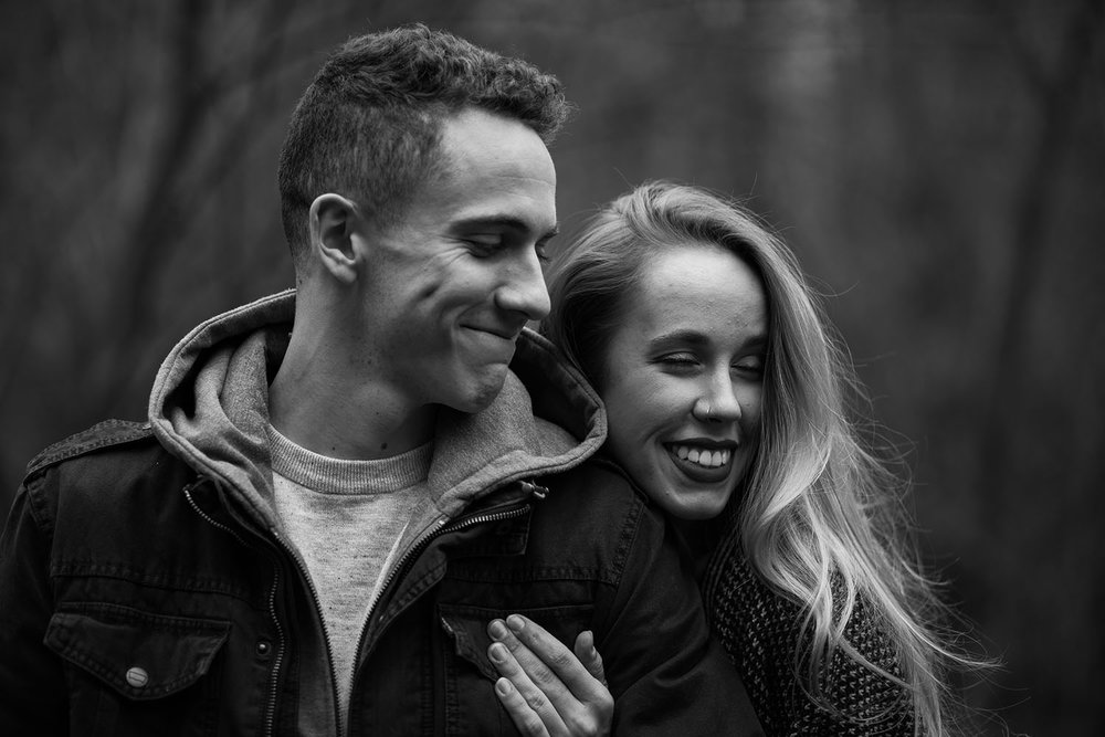 Shutter Up Studios | Engagement photographer in West Lafayette Indiana | Black and white couples photo session in the woods at Prophetstown State Park