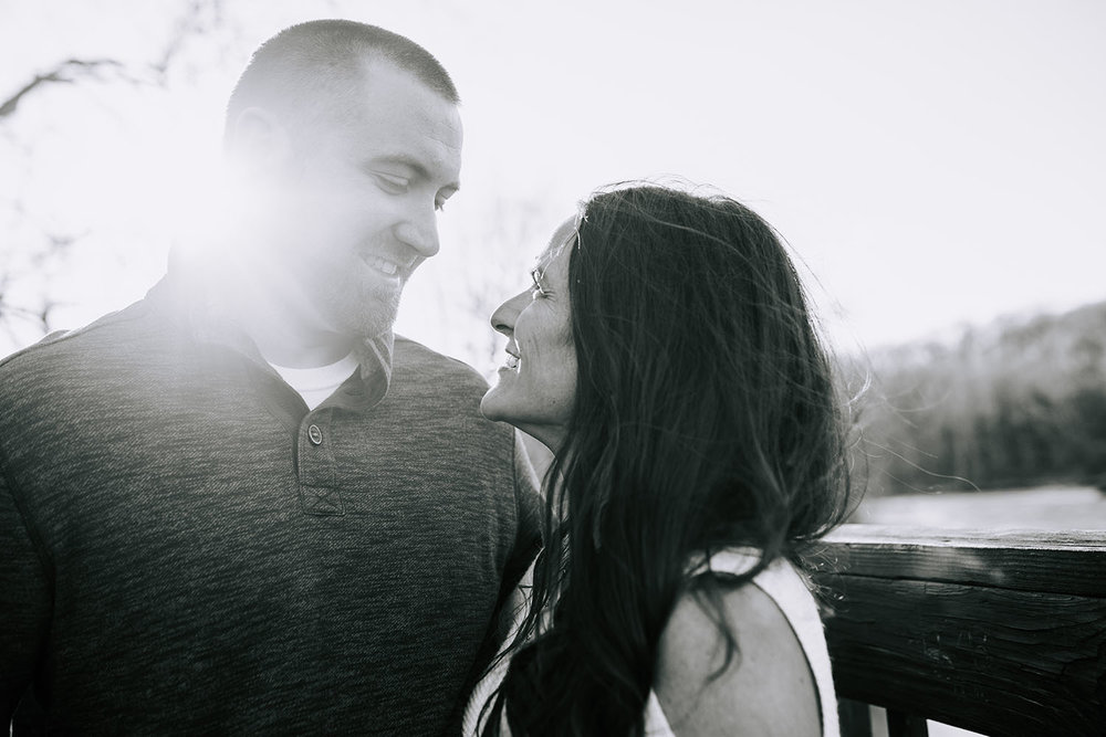 Shutter Up Studios | Wedding photographer in Crawfordsville Indiana | Golden hour engagement session in black and white at Sugar Creek Nature Park