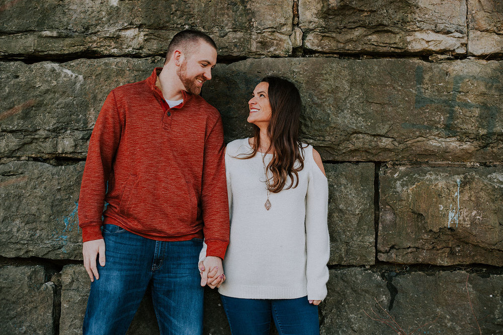 Shutter Up Studios | Wedding photographer in Crawfordsville Indiana | Golden hour engagement session in the woods at Sugar Creek Nature Park