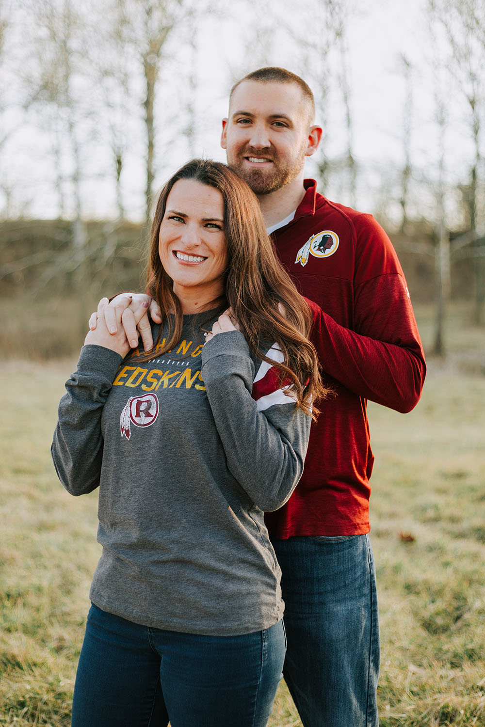 Shutter Up Studios | Wedding photographer in Crawfordsville Indiana | Golden hour engagement session with Redskins shirts