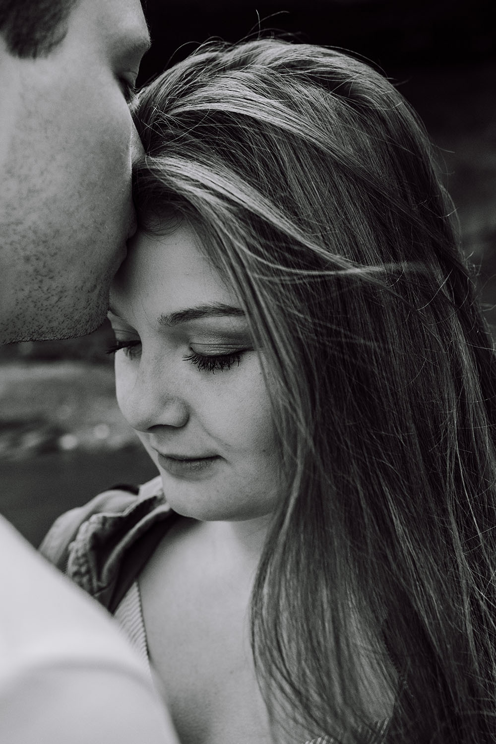 Shutter Up Studios | Engagement photographer in Williamsport Indiana | Ethereal black and white couples session at Williamsport Falls waterfall
