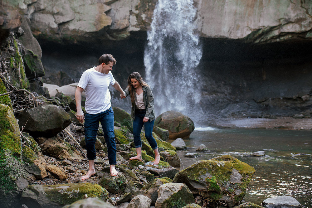 Shutter Up Studios | Engagement photographer in Williamsport Indiana | Barefoot couples session at Williamsport Falls waterfall