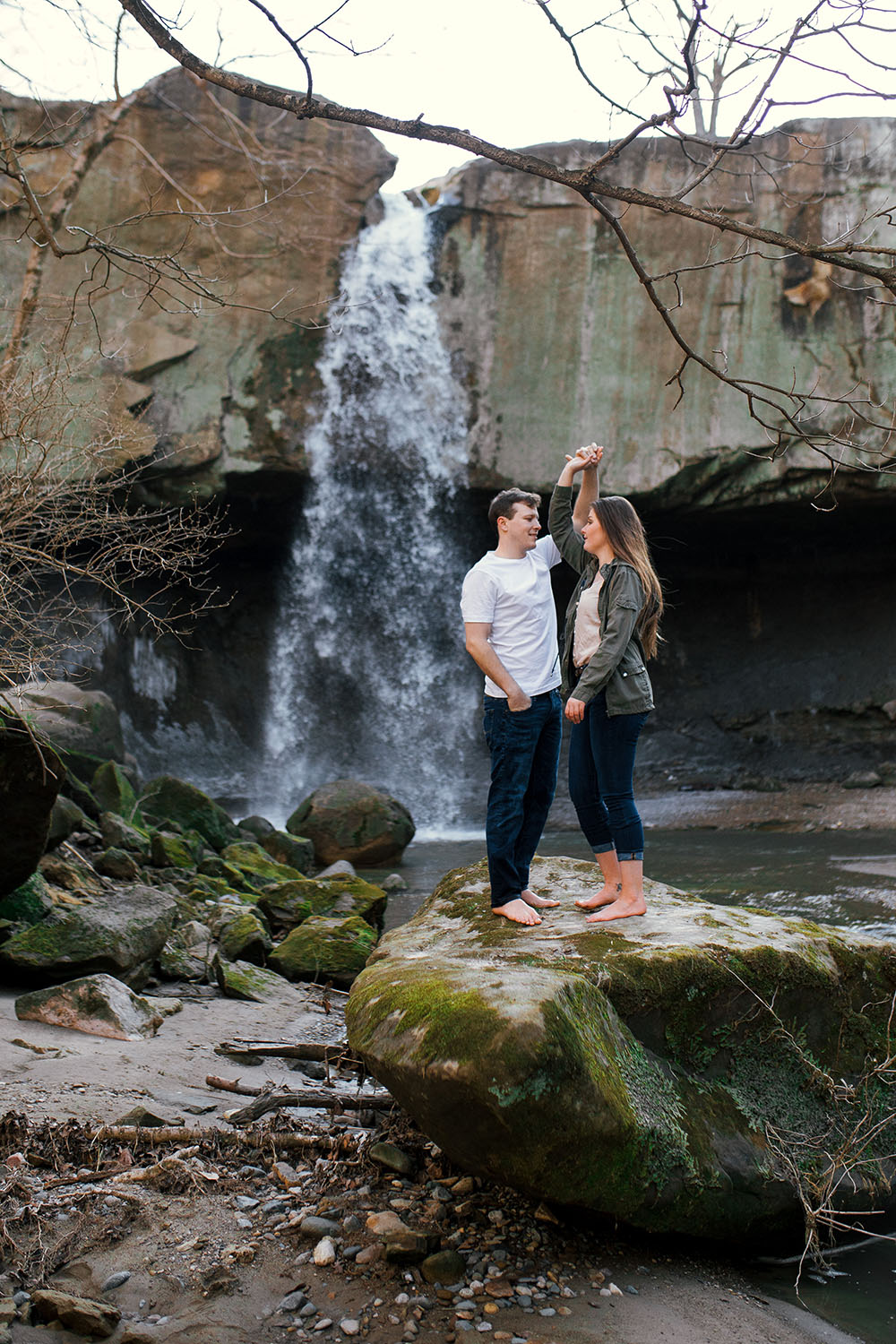 Shutter Up Studios | Engagement photographer in Williamsport Indiana | Barefoot dancing couples session at Williamsport Falls waterfall