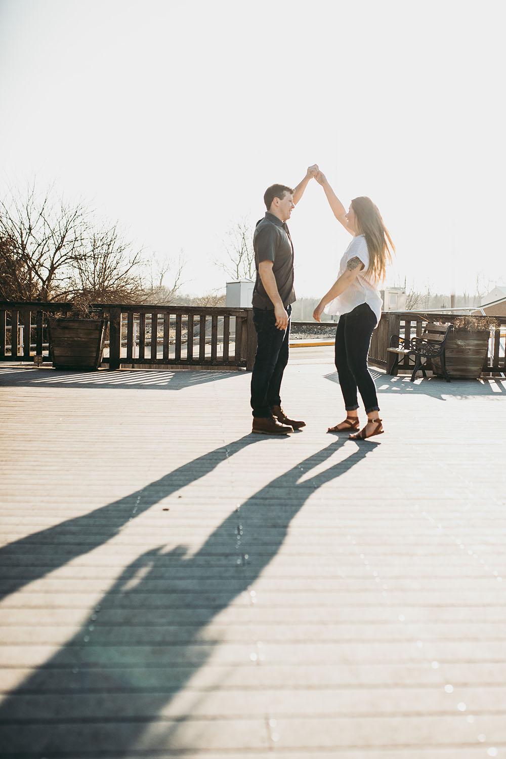 Shutter Up Studios | Engagement photographer in Williamsport Indiana | Sunset dancing couples silhouette session