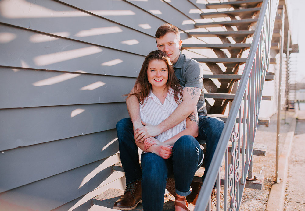 Shutter Up Studios | Engagement photographer in Williamsport Indiana | Rustic colorful sunset couples session downtown