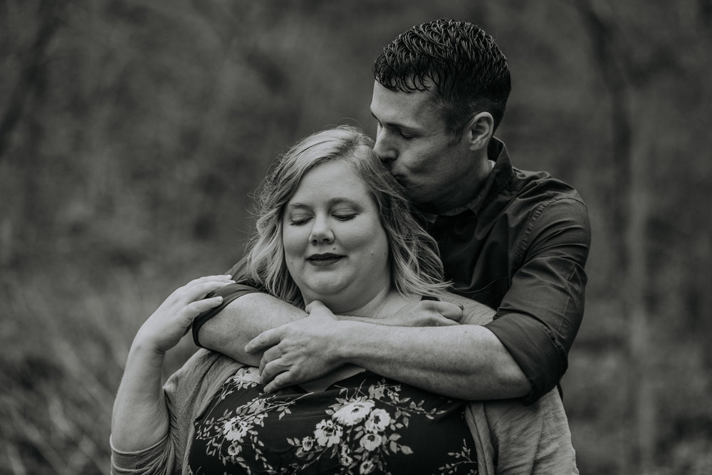 Shutter Up Studios   Engagement photographer in West Lafayette, Indiana   Black and white rainy day couple at Happy Hollow Park