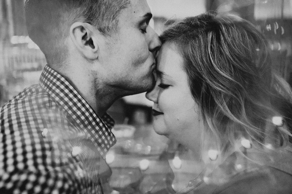 Shutter Up Studios   Engagement photographer in Lafayette, Indiana   Star City Coffee shop black and white couple through prism