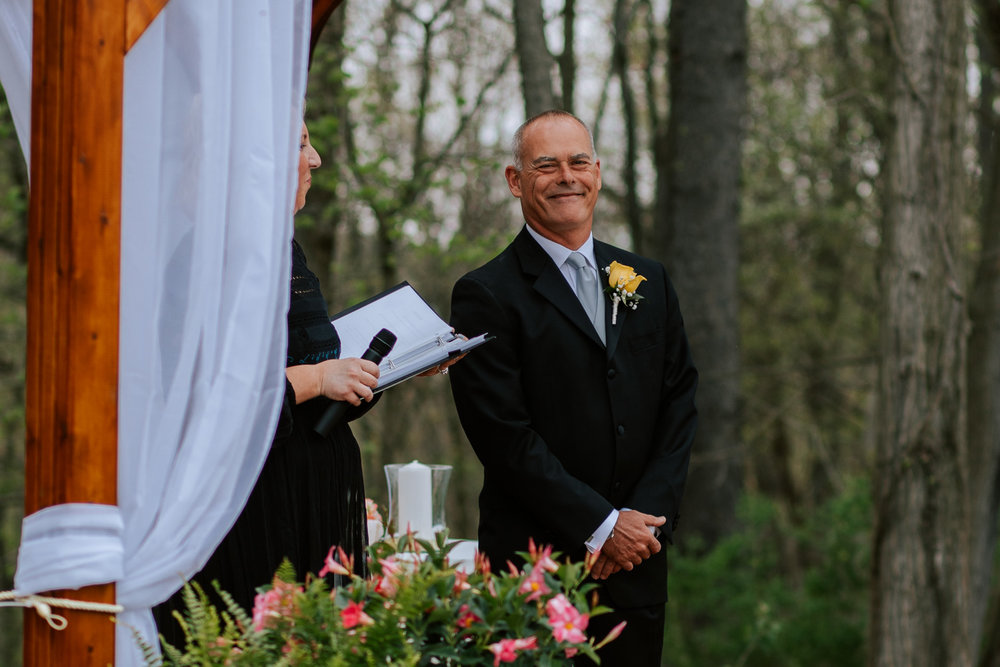 Shutter Up Studios   Wedding photographer in Pittsburgh, Pennsylvania   Outdoor rustic elegant country chic ceremony with groom at altar