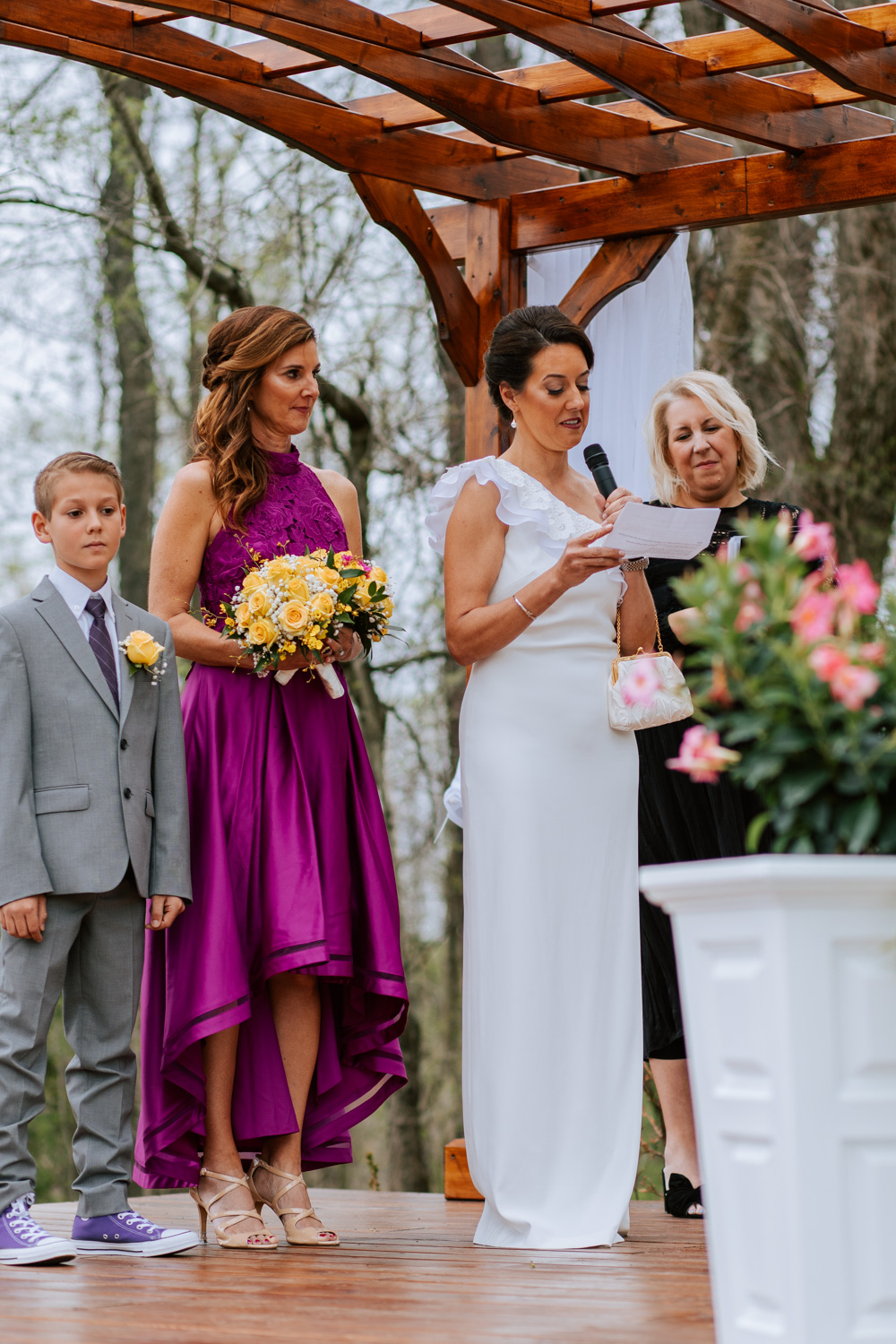 Shutter Up Studios   Wedding photographer in Pittsburgh, Pennsylvania   Outdoor elegant ceremony with bride reading vows
