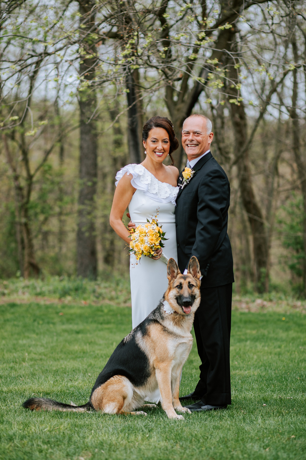 Shutter Up Studios   Wedding photographer in Pittsburgh, Pennsylvania   Bride and groom with German shepherd dog and yellow roses