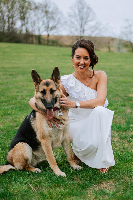 Shutter Up Studios   Wedding photographer in Pittsburgh, Pennsylvania   Bride with German shepherd dog