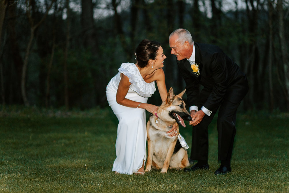 Shutter Up Studios   Wedding photographer in Pittsburgh, Pennsylvania   Bride and groom portraits at night with German shepherd dog