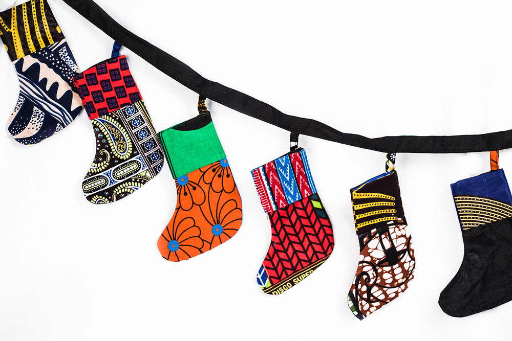 Shutter Up Studios | Commercial product photographer in Lafayette, Indiana | Fair trade artisan made stocking garland from Kibera slum, Nairobi, Kenya
