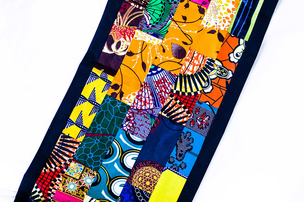 Shutter Up Studios | Commercial product photographer in Lafayette, Indiana | Fair trade artisan made table runner made of kitenge fabric from Kibera slum, Nairobi, Kenya