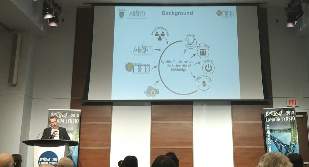 Hans-Joachim Wieden showing off the impressive synthetic biology community at the University of Lethbridge.