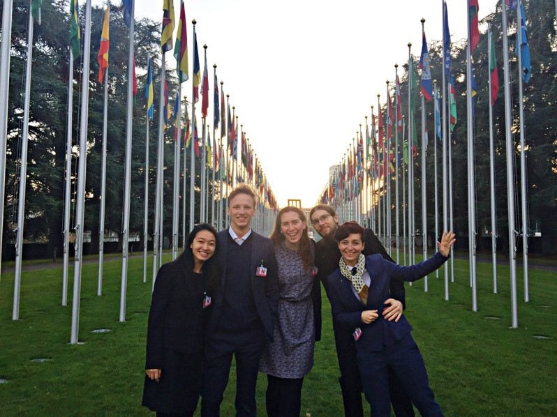 iGEM delegates, including Chris Isaac (second from Left), at the BWC in Geneva, Switzerland.