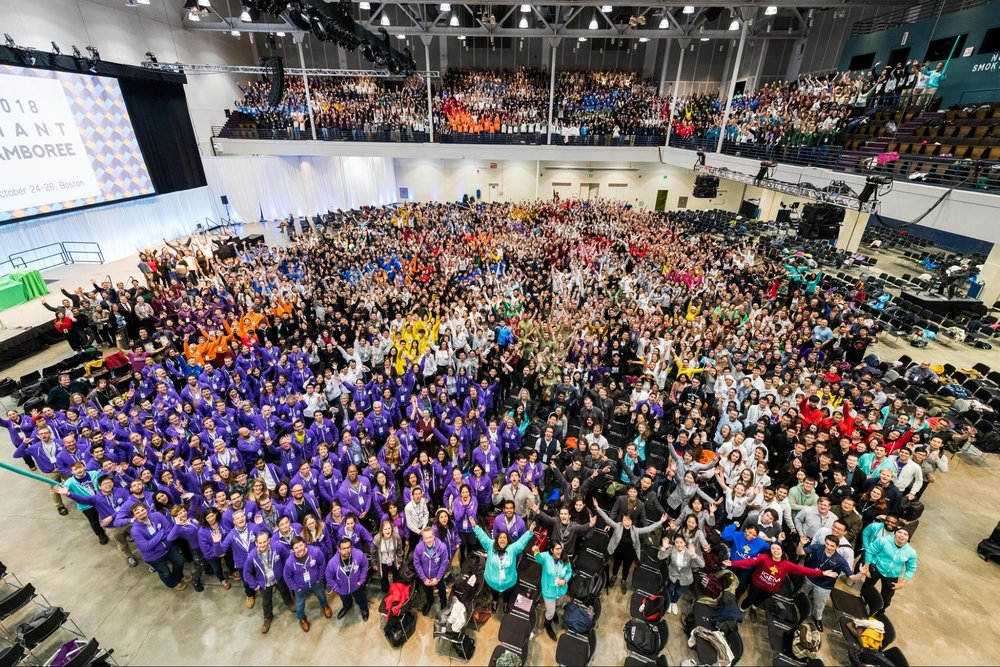 The famous 'iGEM from above' picture, every year, taken slightly higher up… Photo: iGEM Foundation, Justin Knight.