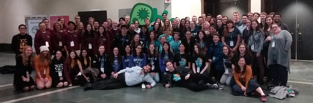 "Canadian iGEM teams at the iGEM Giant Jamboree pose for the first ""cGEM"" photo."