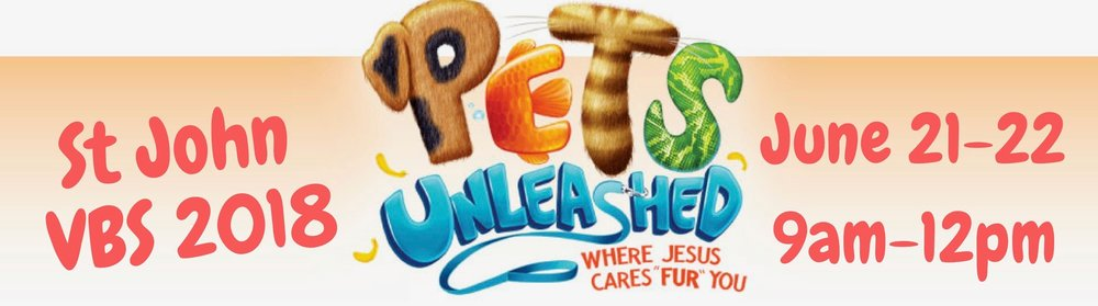 Vacation Bible School at St. John is almost here! Click the picture above for more information or to go straight to the registration form, click  HERE .